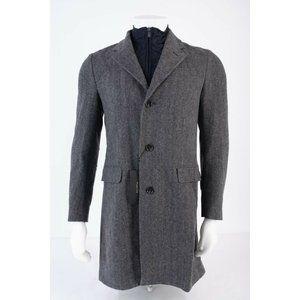 Massimo Dutti Mens Herringbone Wool Coat US 38
